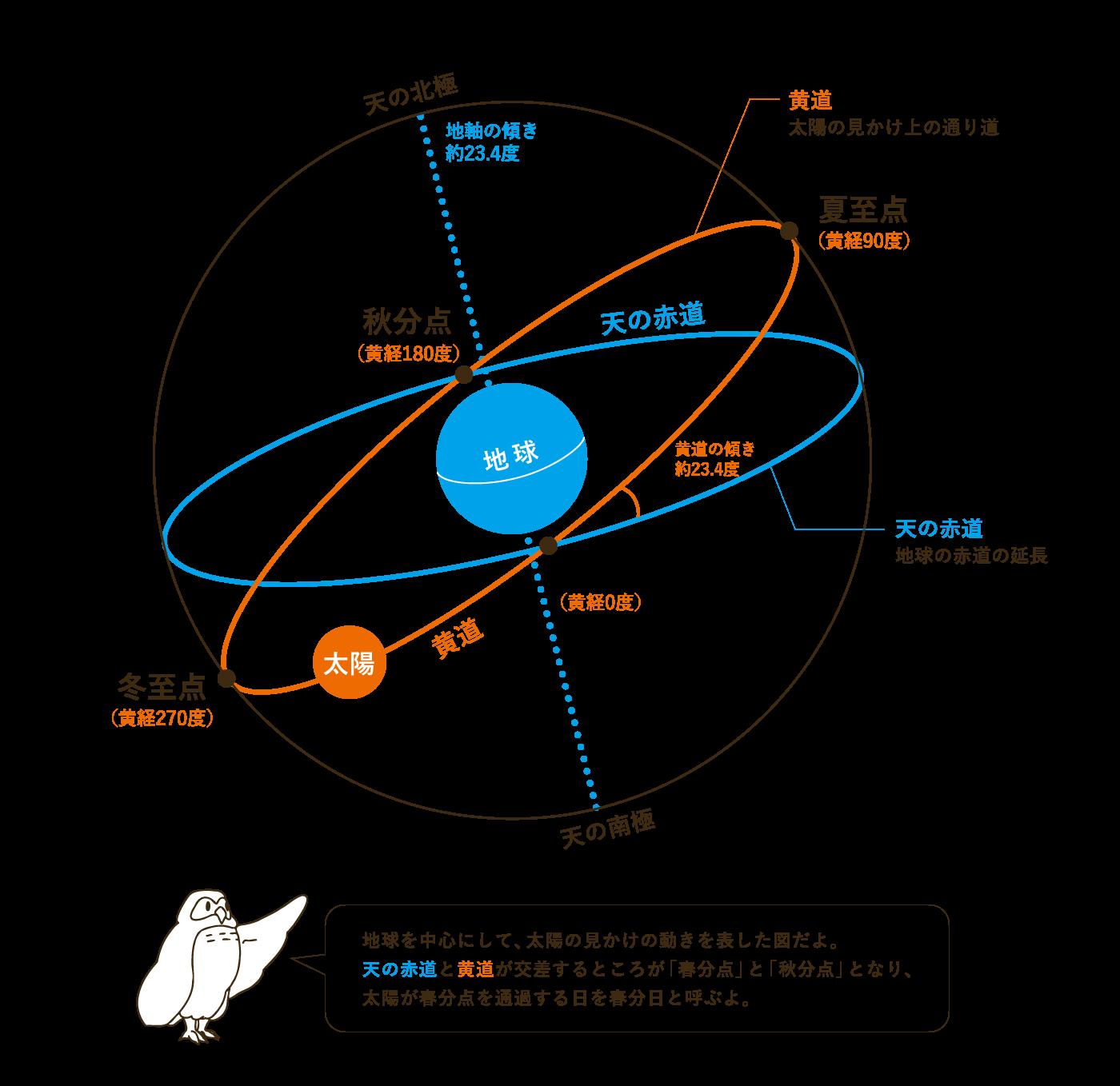 地球を中心にして、太陽の見かけの動きを表した図だよ。 天の赤道と黄道が交差するところが「春分点」と「秋分点」となり、 太陽が春分点を通過する日を春分日と呼ぶよ。